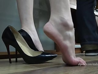 Chinese girl in high heels gets feet trampled + sexy shoeplay
