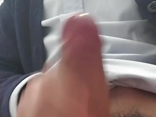 Vietnamese asian with decides to jerk off during work in the washroom