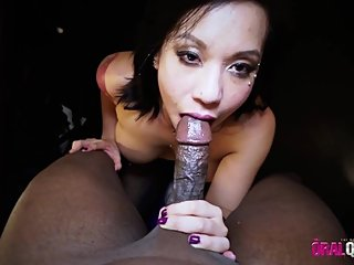 SEXY THICK ASIAN, EXTREMELY SLOPPY DEEPTHROAT, NO GAG REFLEX, ORAL CREAMPIE