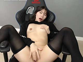 Asian watches hentai for the first time and gets horny