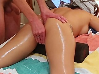 Erotic oiled up massage for hot Asian GF