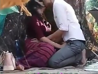 Asian teens having outdoor sex