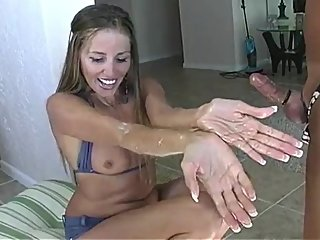 Quick Jackings - Hot Wife Ejaculates Hubby's Little Pool Erection