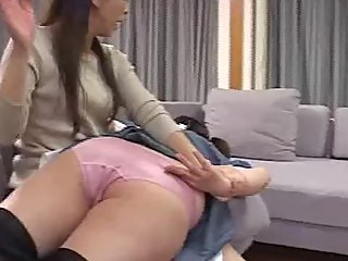 Japanese maid and mistress spank each other
