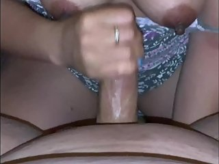 Hot Asian wife hand job, cum in mouth and tits. Pov mini cum compilation