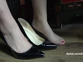 Cute Chinese girl in high heels feet trampled + sexy shoeplay