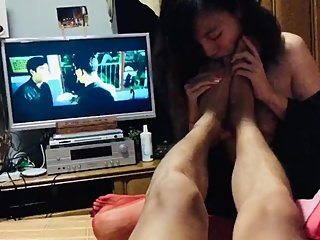 Asian girl slave who lips the master feet like a fem-dog