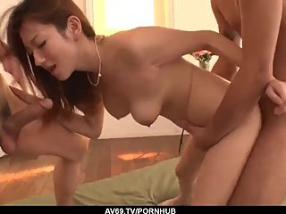Reon Otowa smashing nude porn with two younger men - More at 69avs com