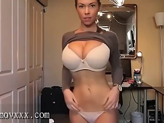 meet her on bluemovxxx_com Huge Bouncing Tits in Brown Sweater play