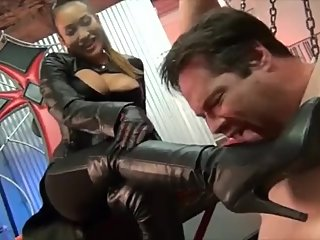 Slave worships his Asian Leather clad Goddess
