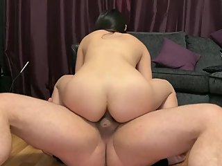 Petite Chinese girl rides white dick - hard fast anal fuck