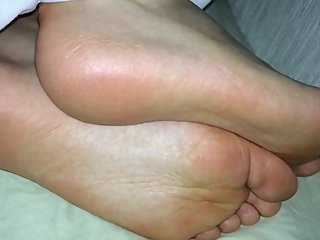 Asian ex-girlfriend sleeping soles