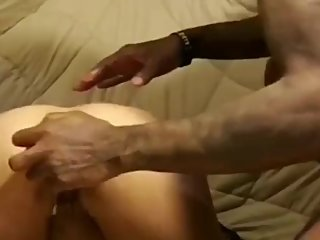 Asian babe taking dildo and big dick in her ass