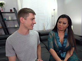 Asian Stepmom Teaches Virgin Son How to Fuck